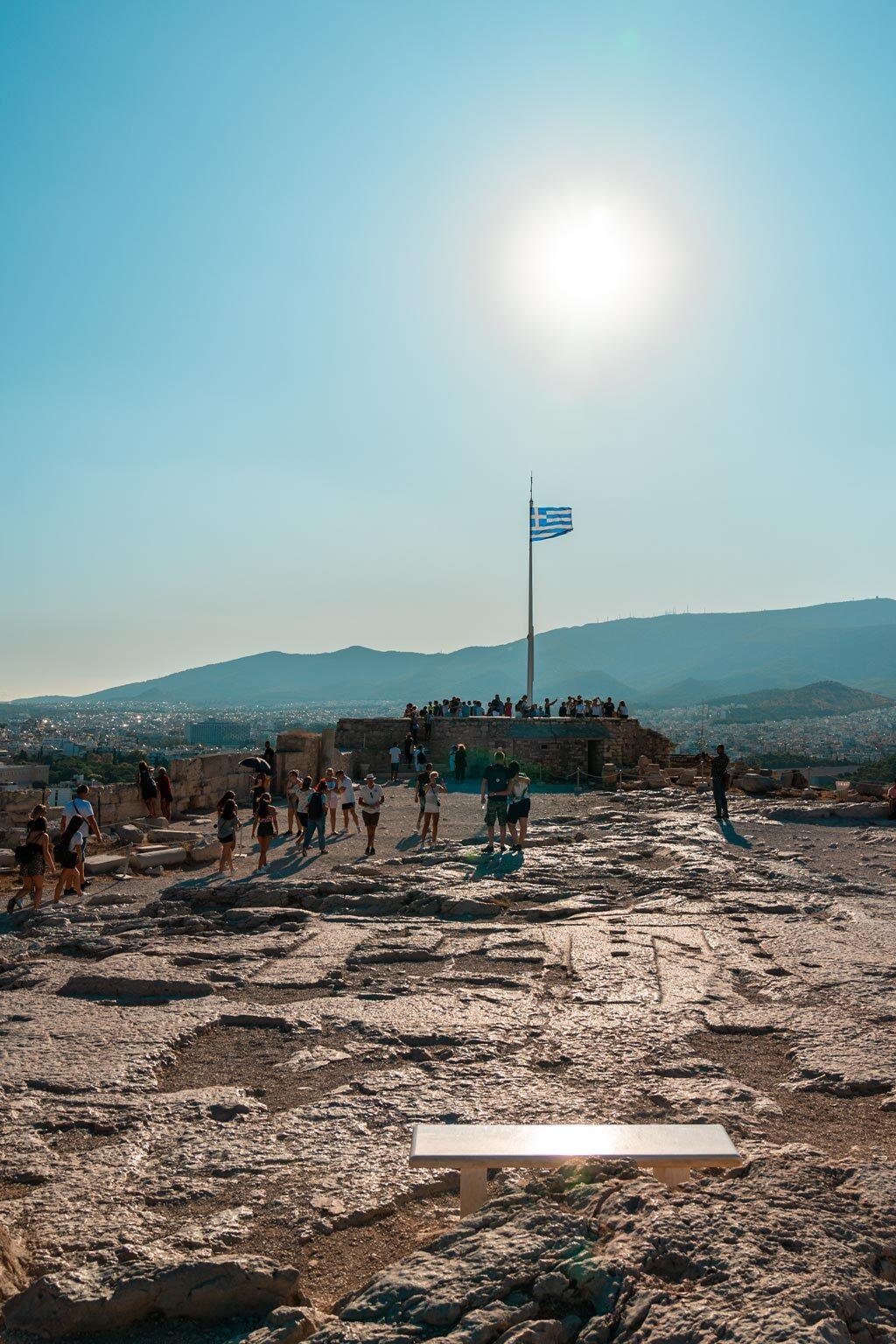 Flagpole and Greek Flag at Acropolis