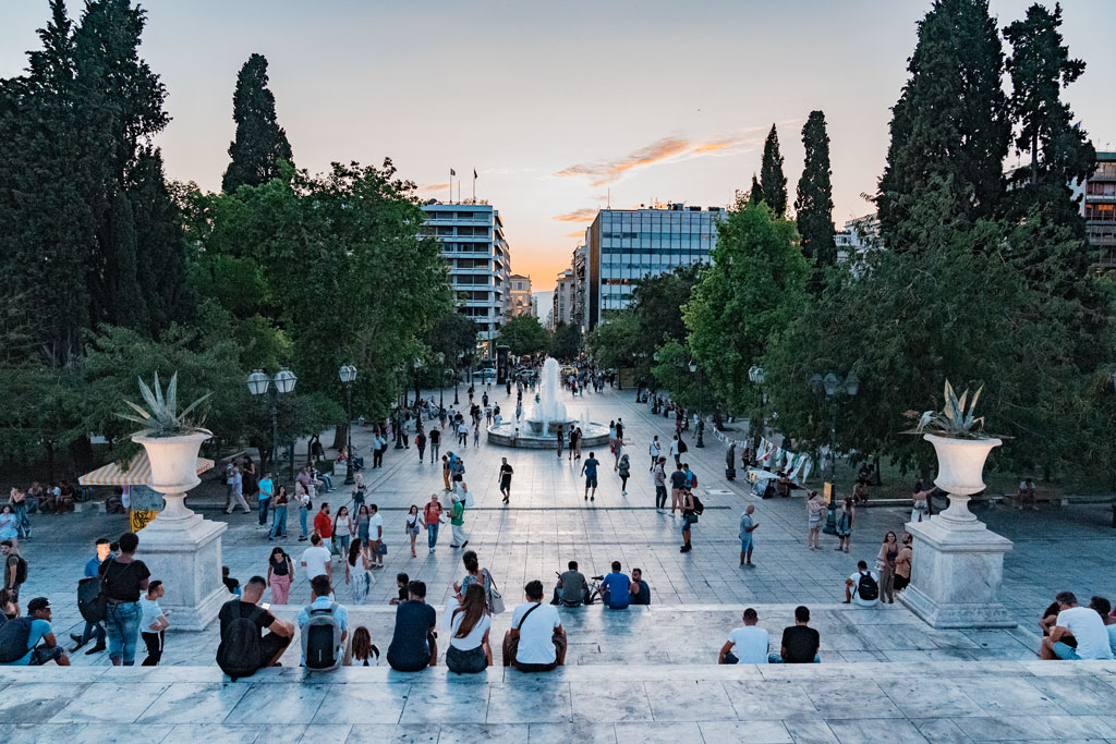 People Watching Sunset at Syntagma Square
