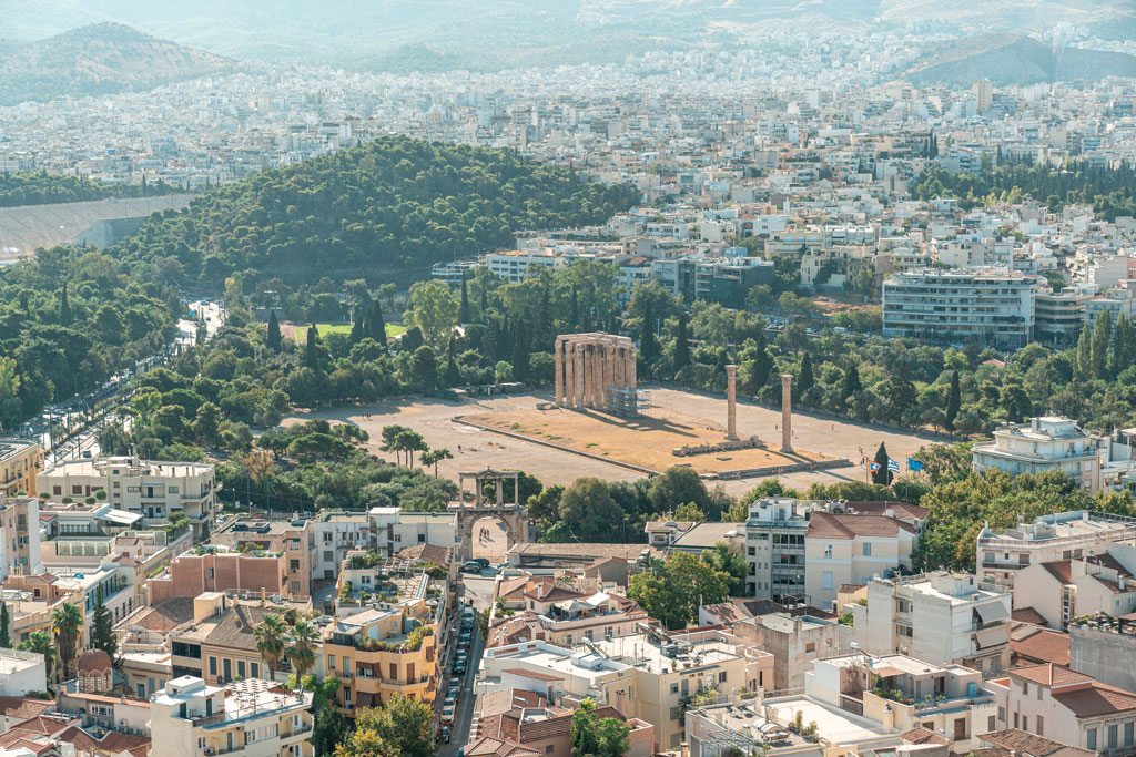 Temple of Olympian Zeus View From Acropolis