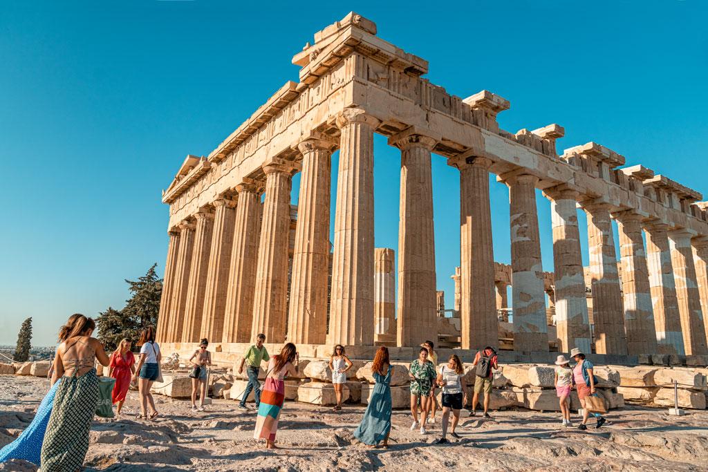 Tourists Taking Photos in Front of Parthenon
