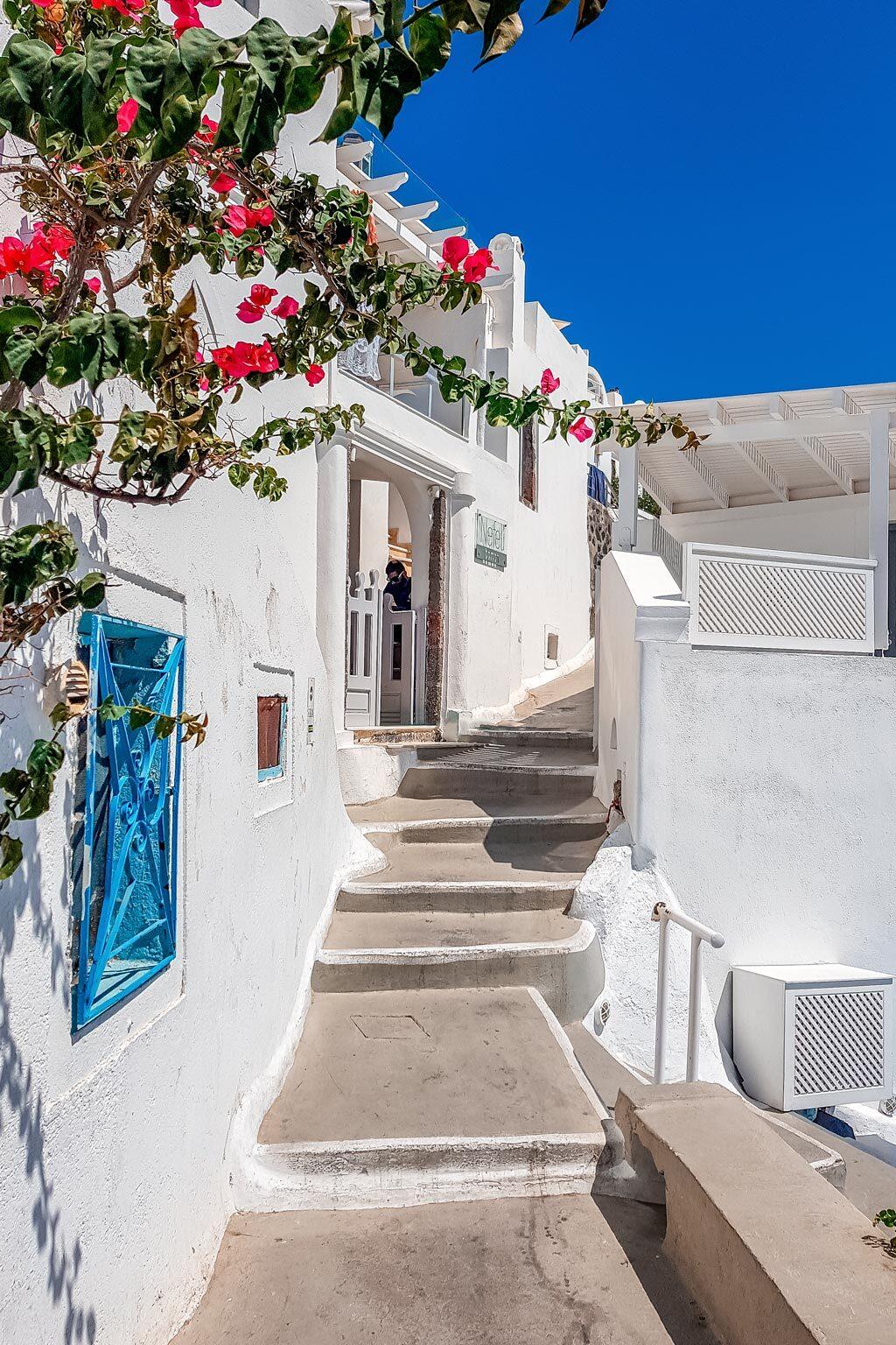 Beautiful White Street in Imerovigli Santorini