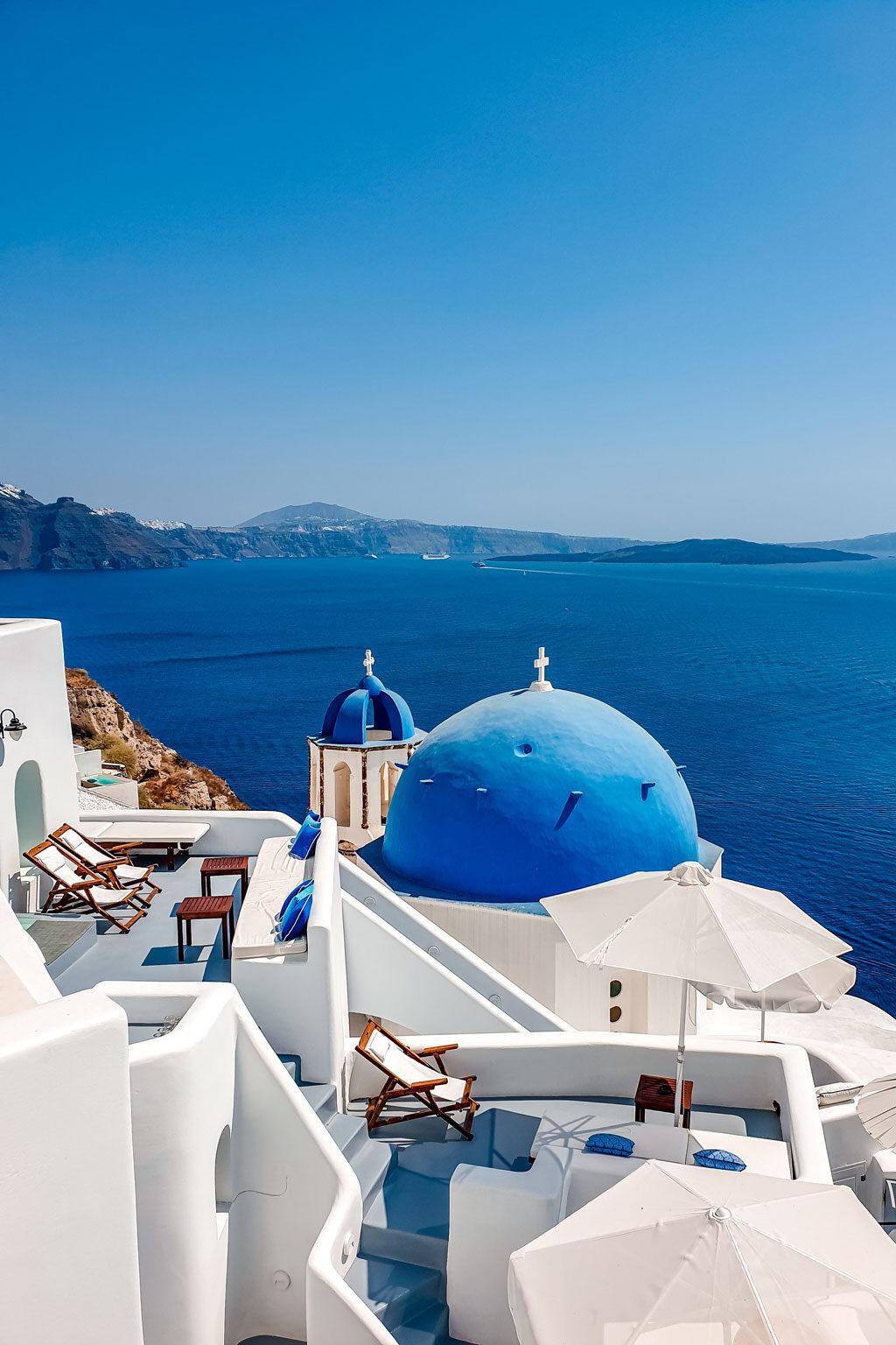 Blue Dome Churches in Oia Santorini