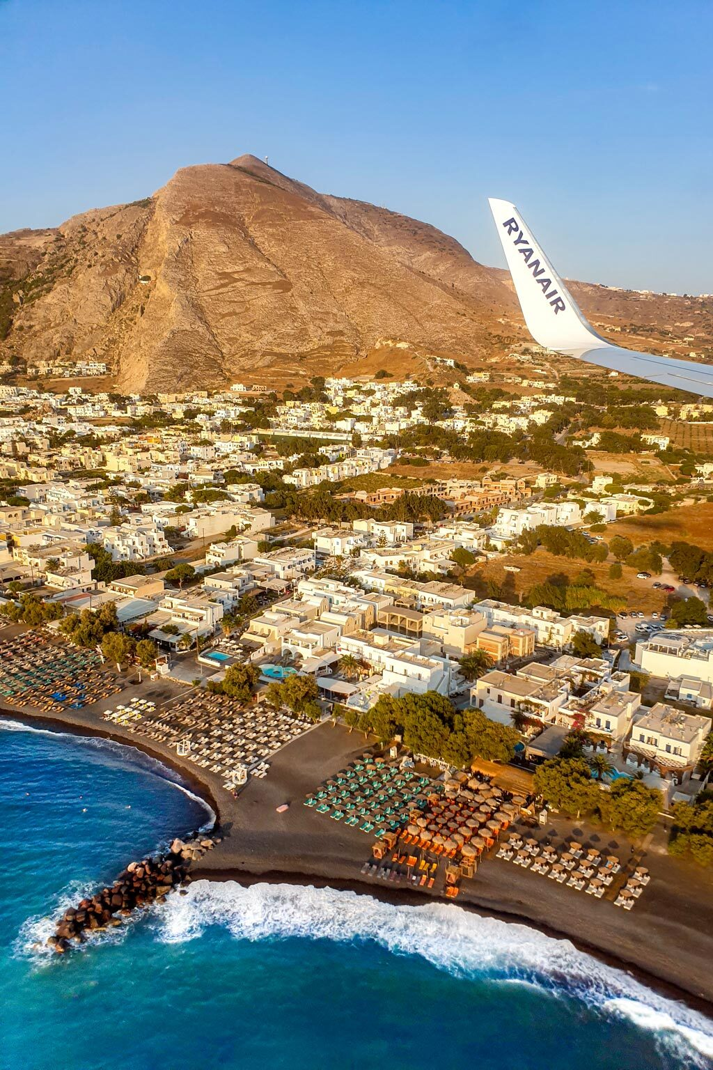 Flying to Santorini Greece