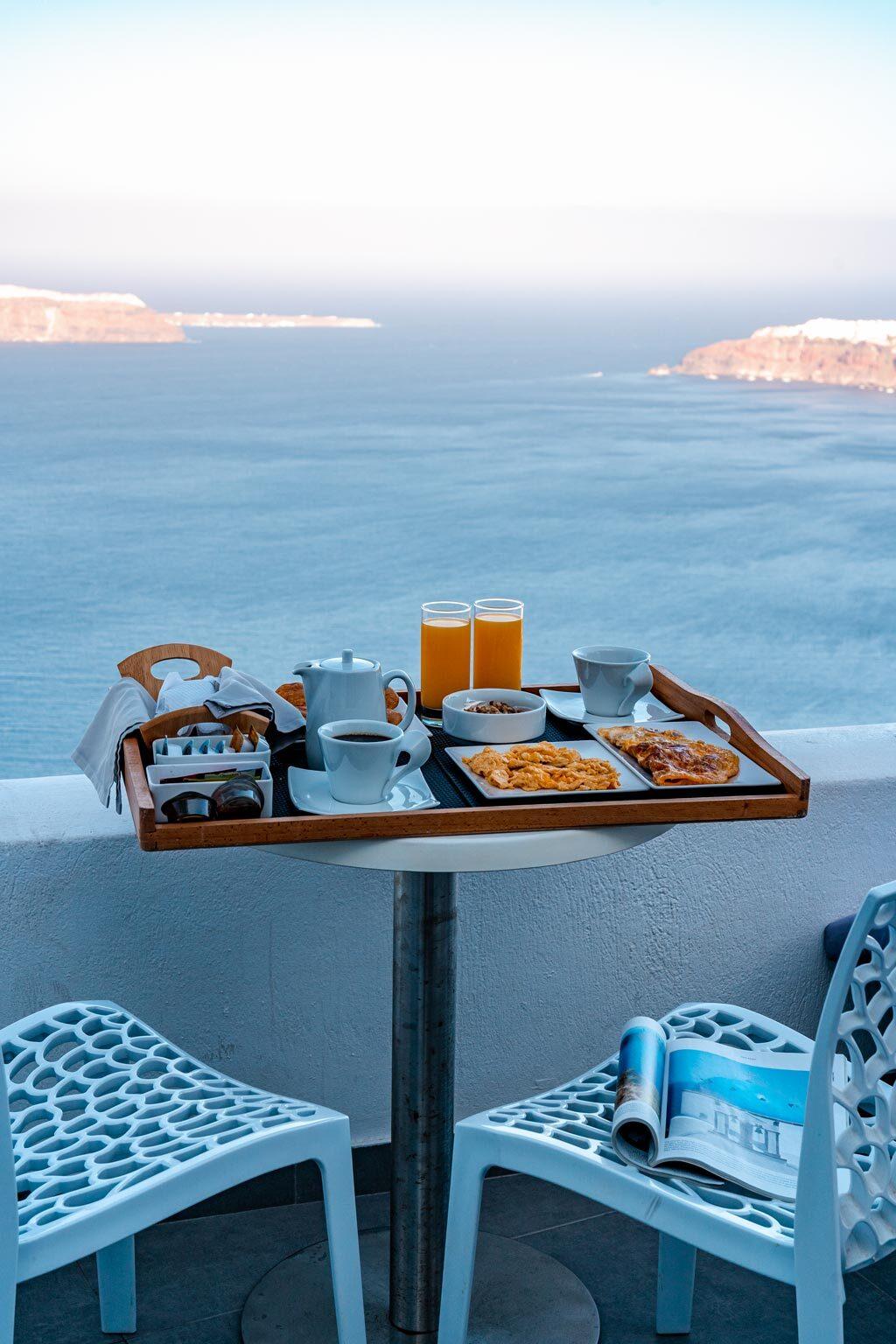 Tradititional Greek Breakfast on the Villa Baclony