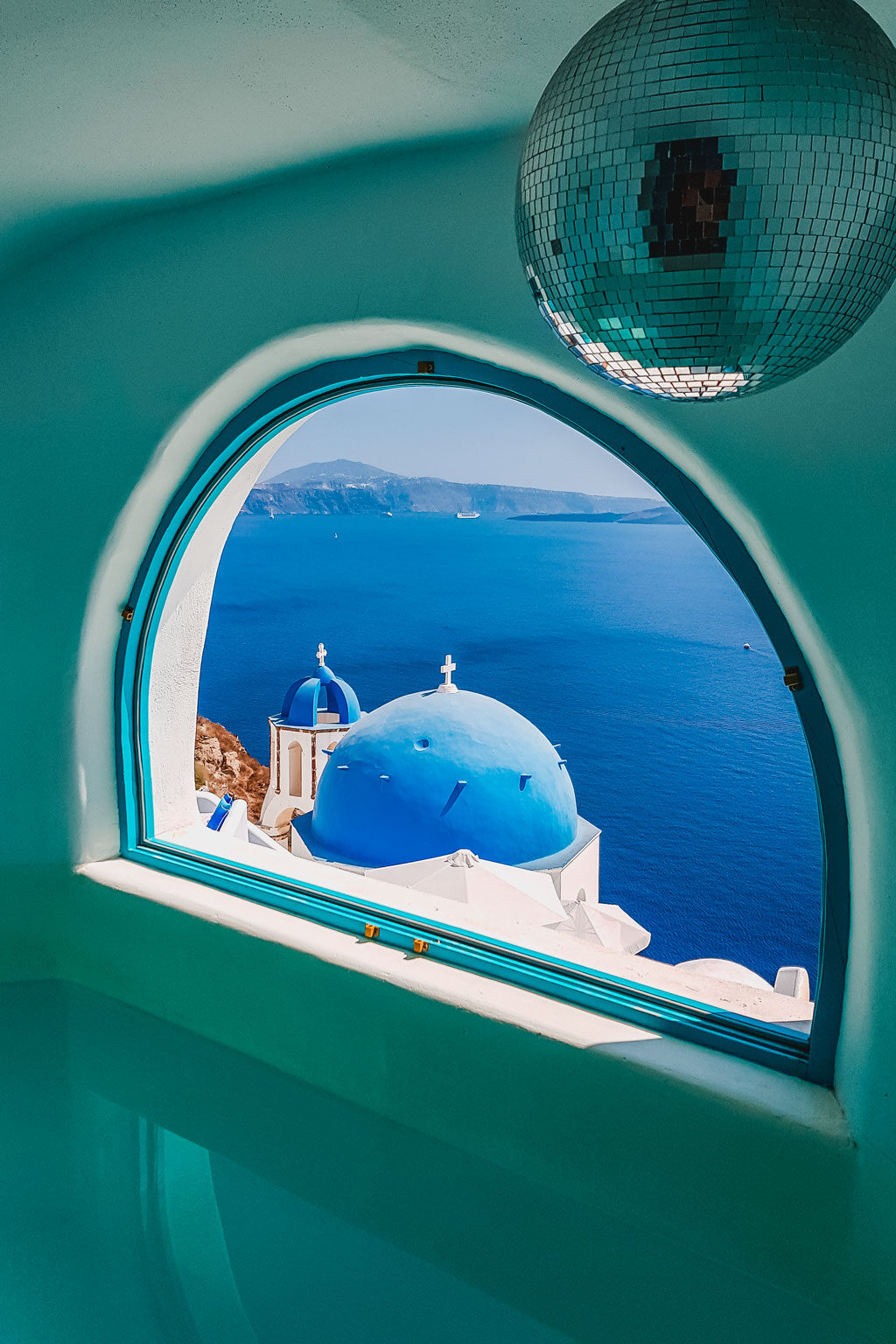 Blue Dome Churches Seen from Indoor Pool Window
