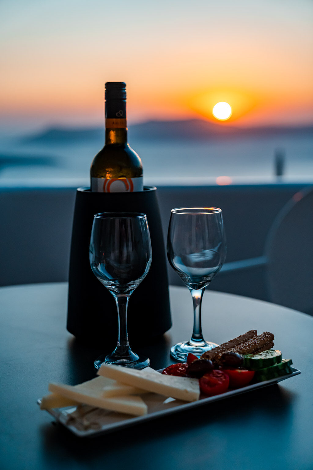 Romantic Sunset Fira Santorini Wine and Snacks