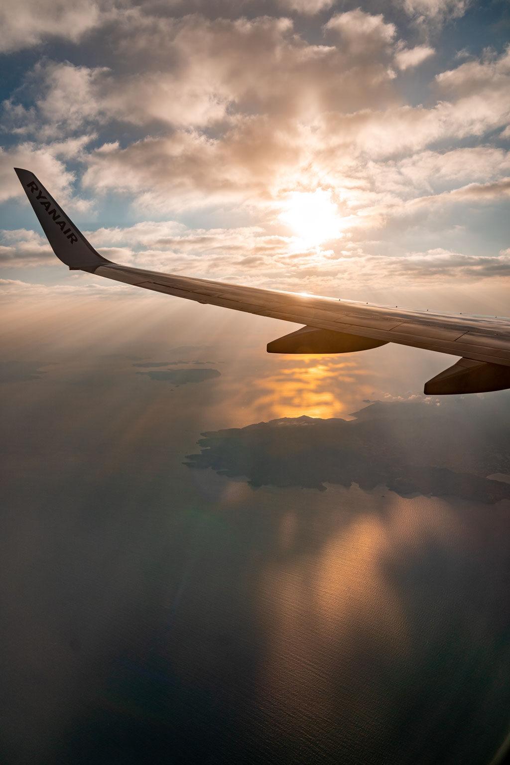 Santorini Sunrise Seen from a Plane