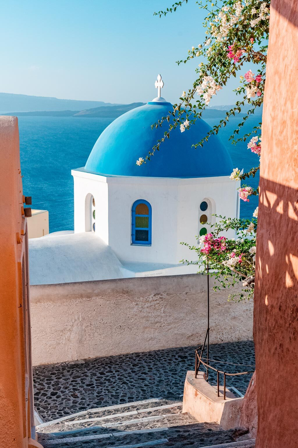 Stairs to Blue Dome Church in Santorini