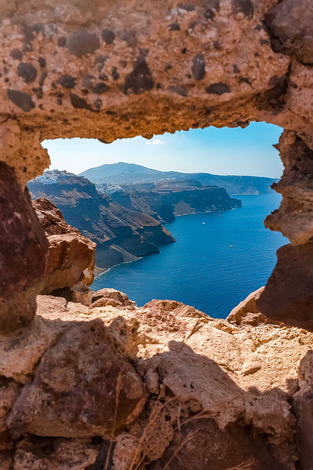 View from Skaros Rock to Fira Santorini