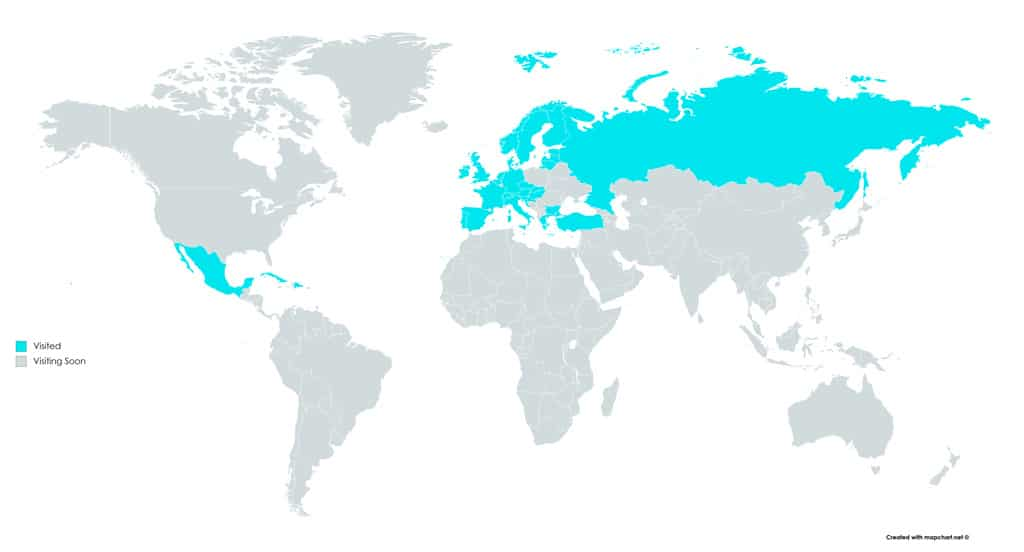 Visited Countries World Map
