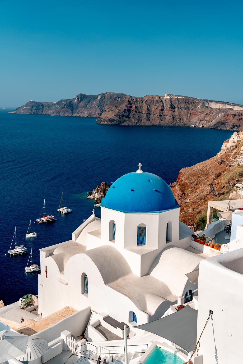 White Church Blue Dome Santorini Greece