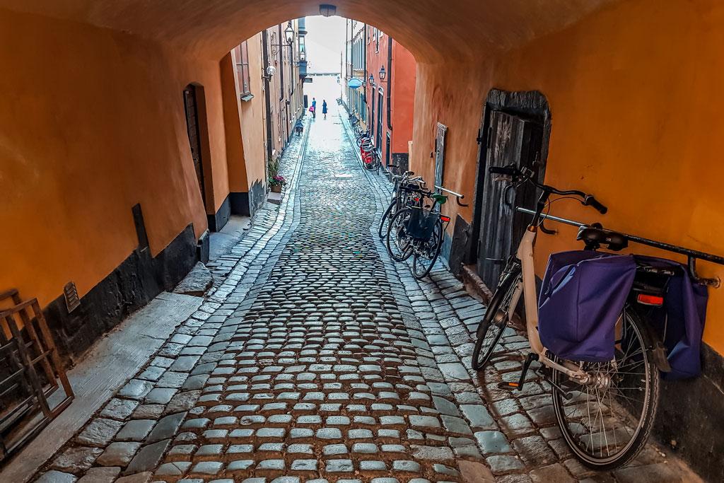 Cobblestone Street in Stockholm Old Town