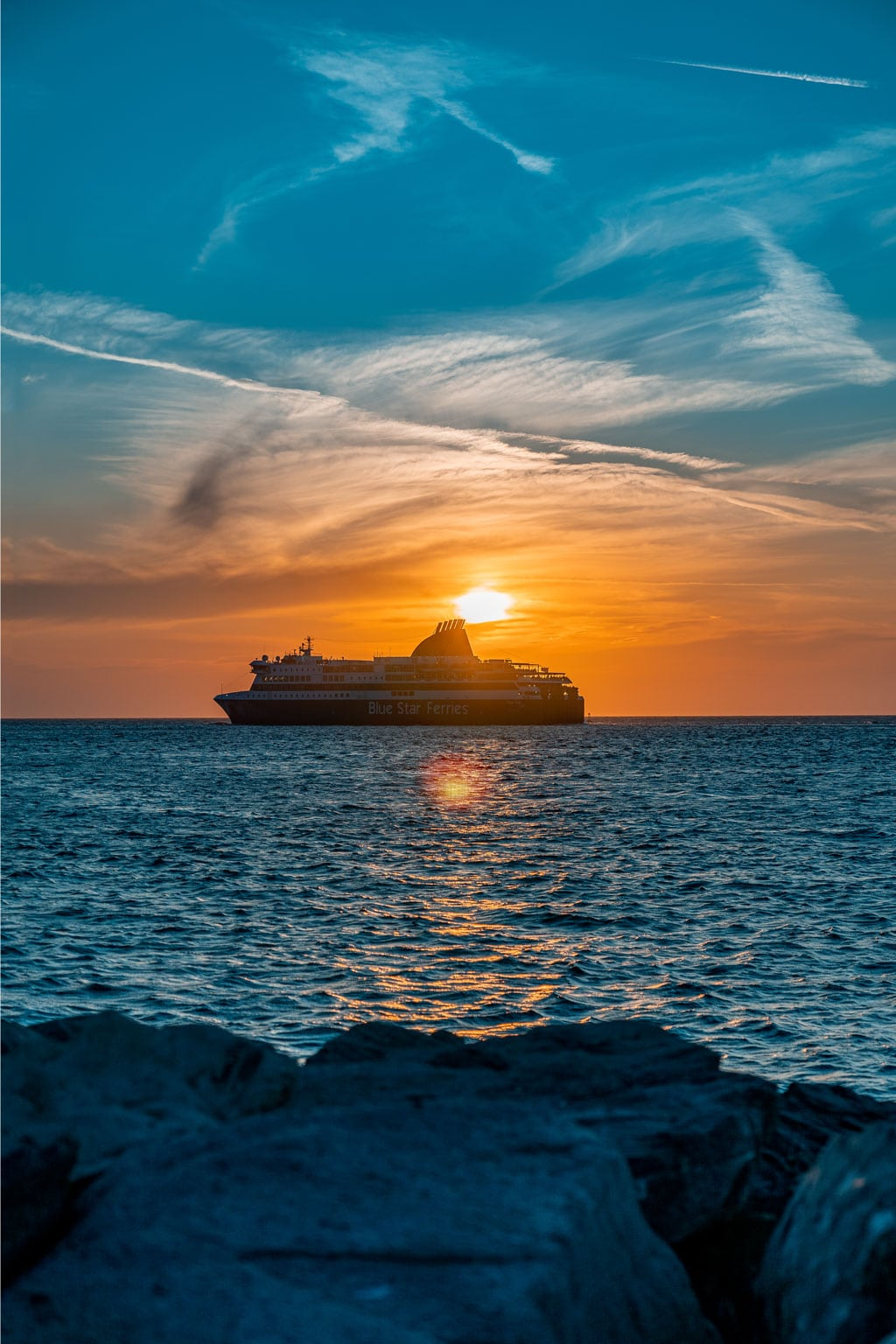 Ferry Sailing at Sunset Greek Island Hoping
