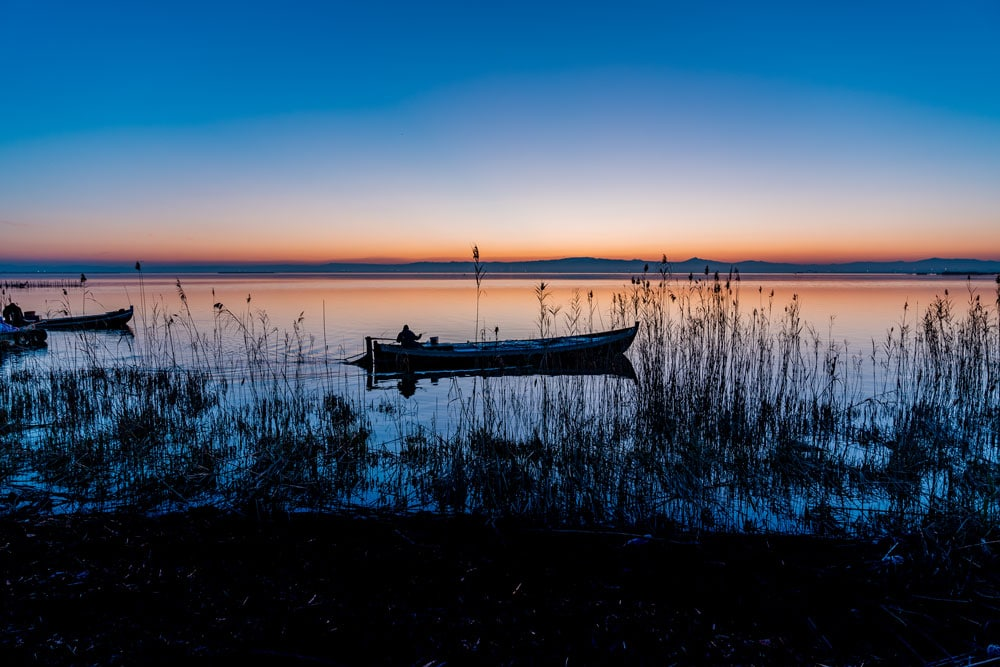 Fishing Boat with Beautiful Sunset at Albufera Natural Park