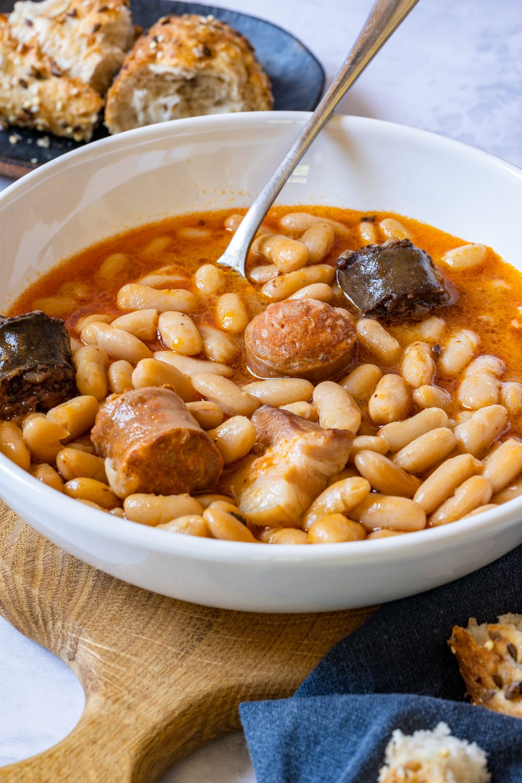 Bowl of Spanish bean soup fabada