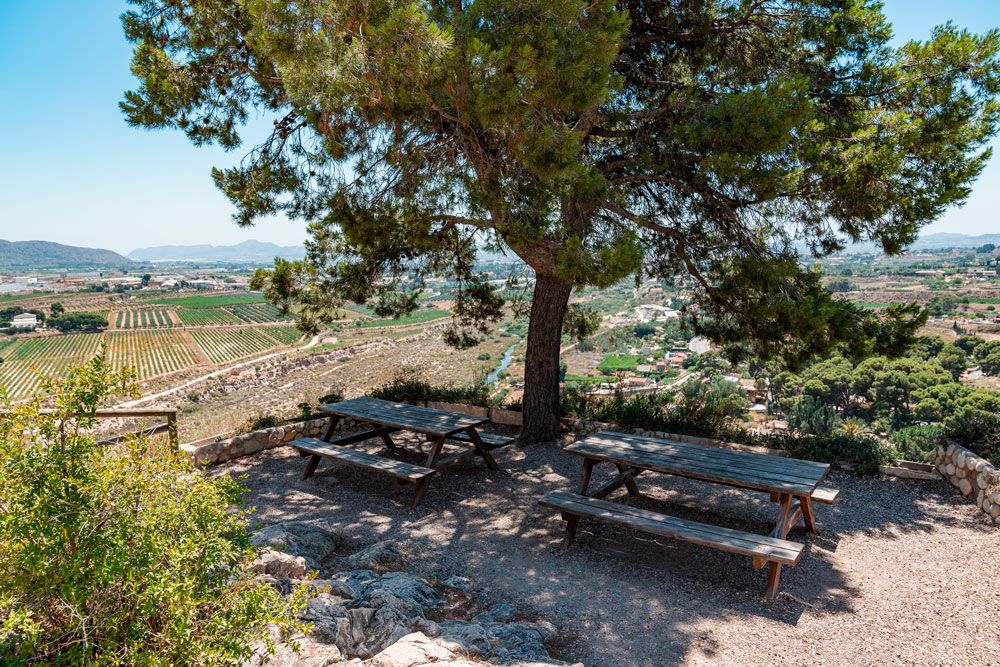 Picnic area outside of the church