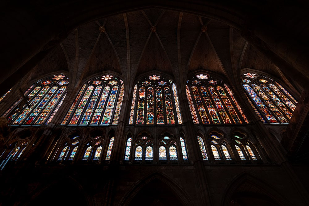 Huge stained glass windows at the Cathedral of Leon