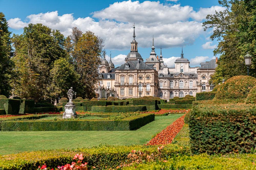 Beautiful gardens of Royal Palace of La Granja of San Ildefonso