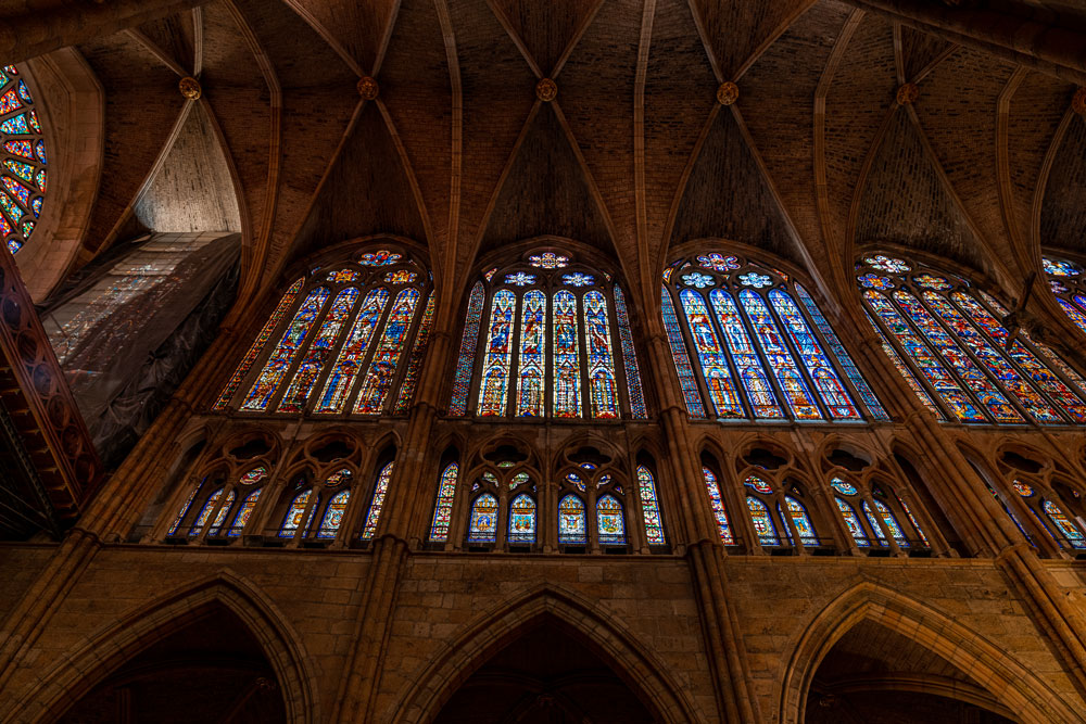 Stained glass windows at the Leon Cathedral
