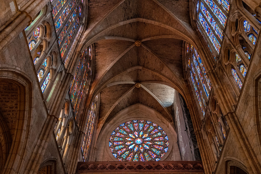 Stained-glass windows at Cathedral of Leon