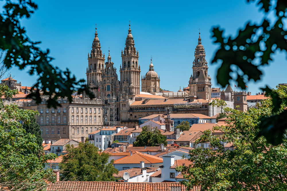 View to Cathedral of Santiago de Compostela from Alameda park
