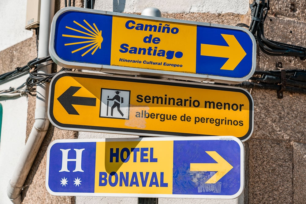 Street signs of the pilgrimage route to the cathedral of Santiago de Compostela