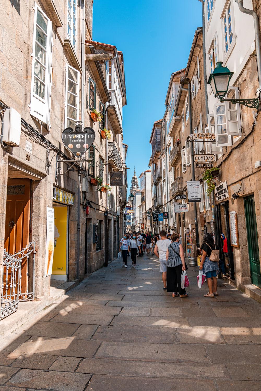 Busy street of Santiago de Compostela