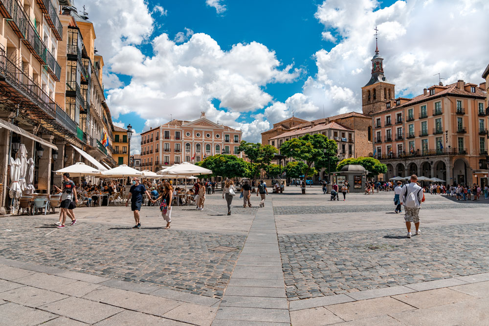Segovia main square with historical buildings