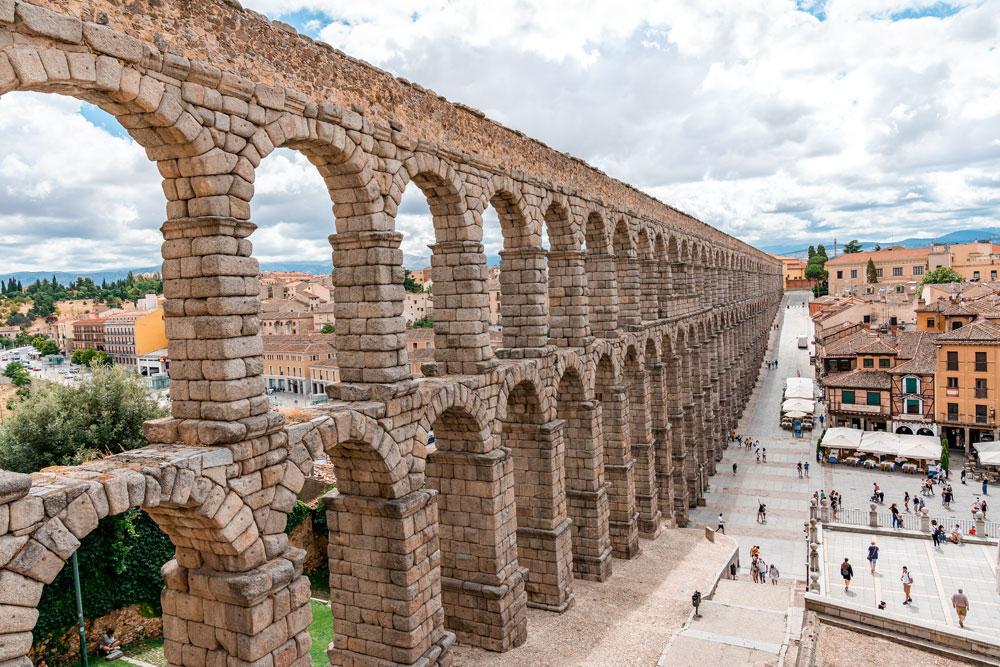 Best preserved Roman Aqueduct in Segovia, Spain