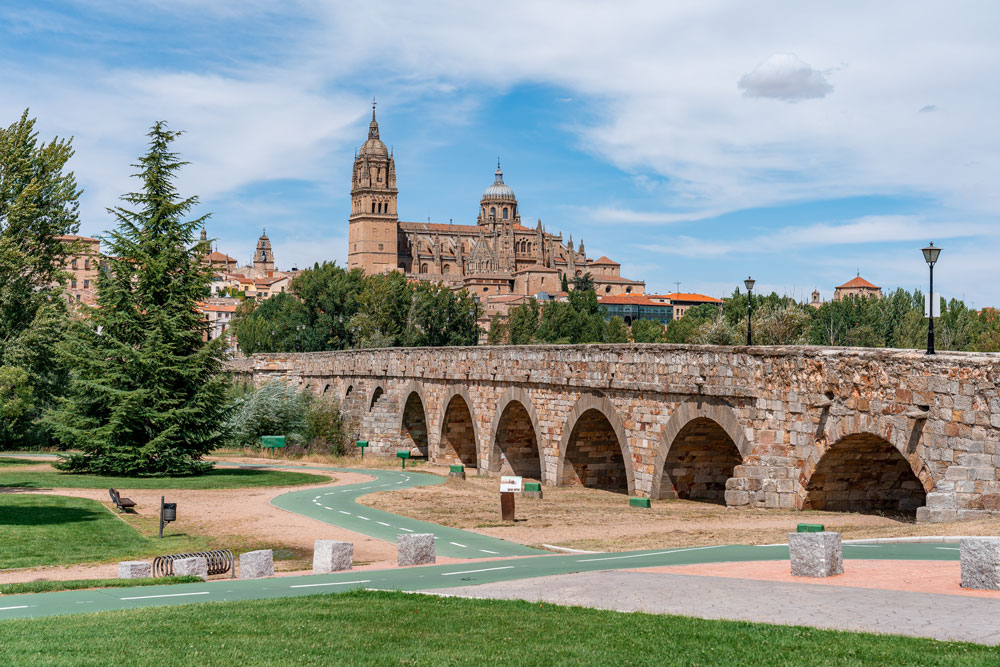 Roman bridge of Salamanca and Cathedral in background