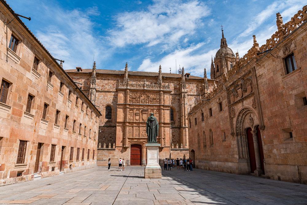 University of Salamanca and statue of Fray Luis de Leon