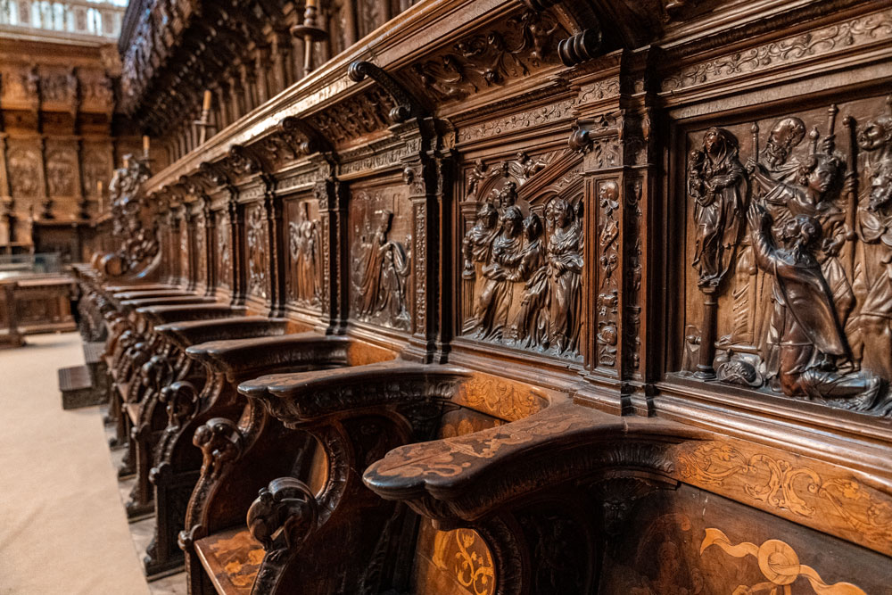 Close-up of the wooden carved seats at the Cathedral