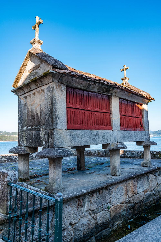 Combarro granaries located on the sea shore