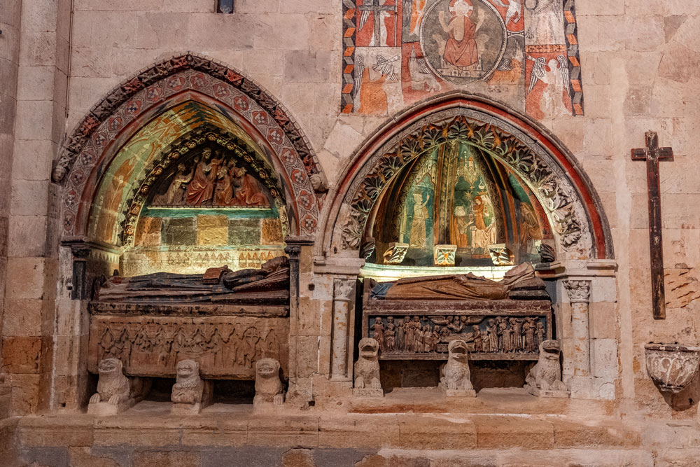 Medieval tombs inside the Old Cathedral of Salamanca