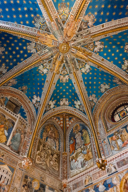 Ceiling decor frescos in the Chapel of San Blas